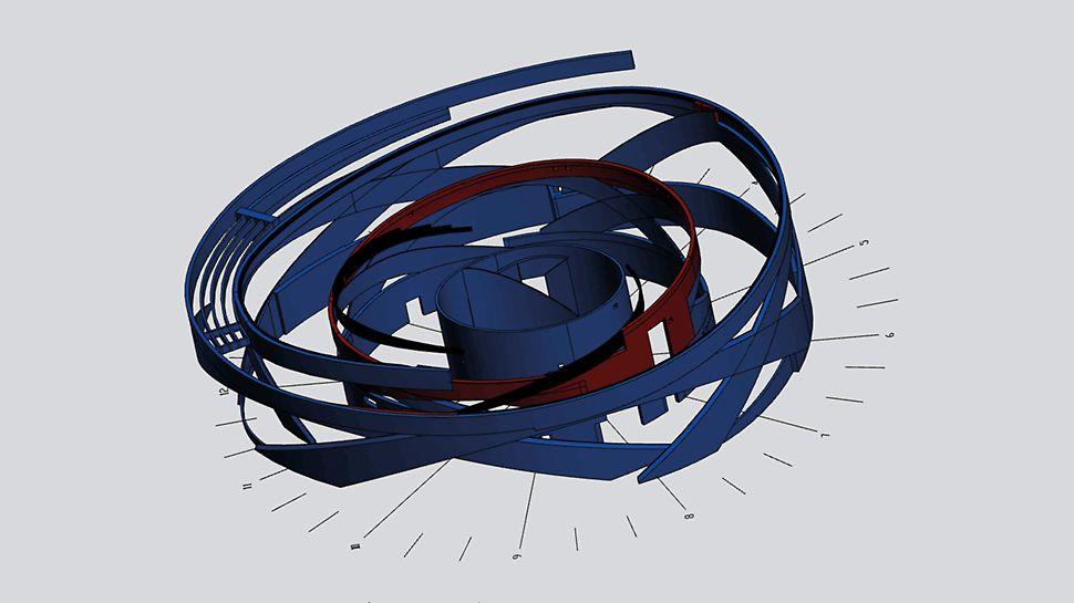 Das Besondere an diesem Projekt war, dass es keine Papierzeichnungen für das Projekt gab – alles basierte auf einem virtuellen Modell, das vom Architekten aktualisiert wurde. Die 400 individuellen Aussparungen wurden zusammen mit einem großen Teil der Wandschalungen in 3D entworfen.