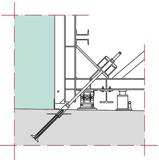 Detalj sidrenja okvirnog podupirača jednostrane oplate PERI V držačem sidra.