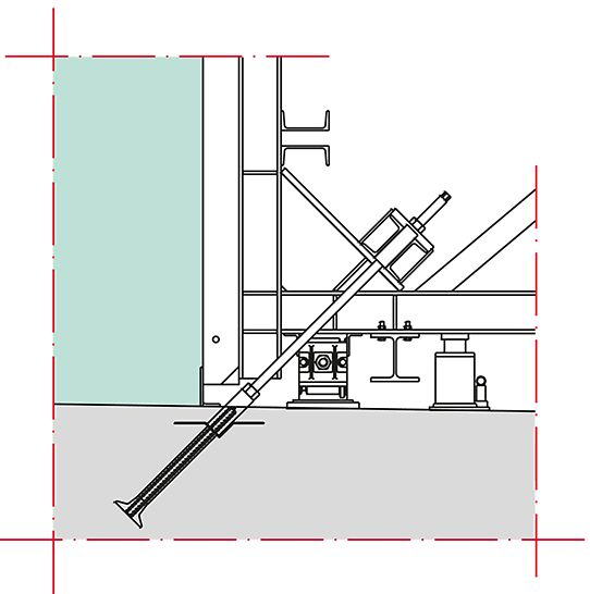 Detailed look at brace frame anchoring with PERI V tie bracket.
