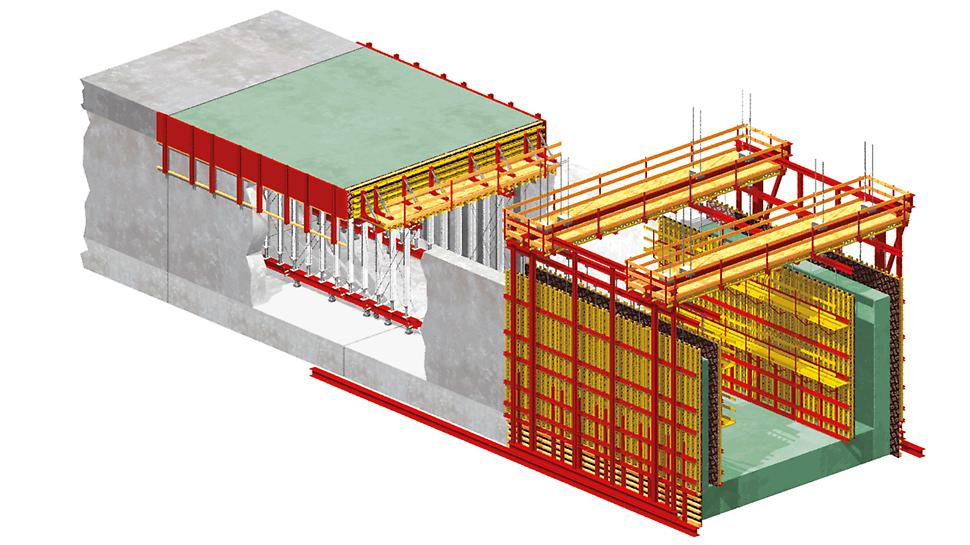 Encofrado para túneles VARIOKIT: Gráfico de Túnel ejecutado según el método semi-monolítico a cielo abierto – Variante 2