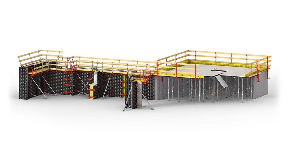 Lettvektsforskaling for vegg, søyle og dekke. DUO universell forskaling  PERI forskaling domino Trio Quatro søyle panel dekke vegg