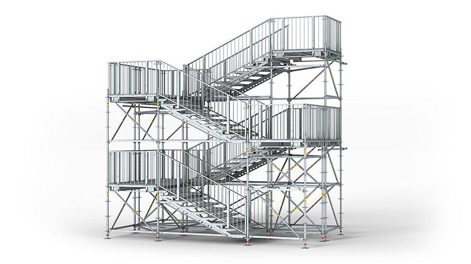 Κλιμακοστάσιο PERI UP Rosett Public 150, 200, 250: Η γεωμετρία του κλιμακοστασίου και η διάταξη των κλιμάκων ανταποκρίνονται στις απαιτήσεις για δημόσια πρόσβαση.