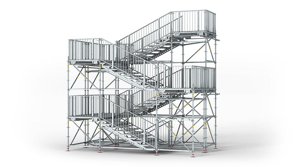 PERI UP Rosett Public Scala con impalcati in acciaio, ideale per luoghi pubblici e conforme alle normative più severe