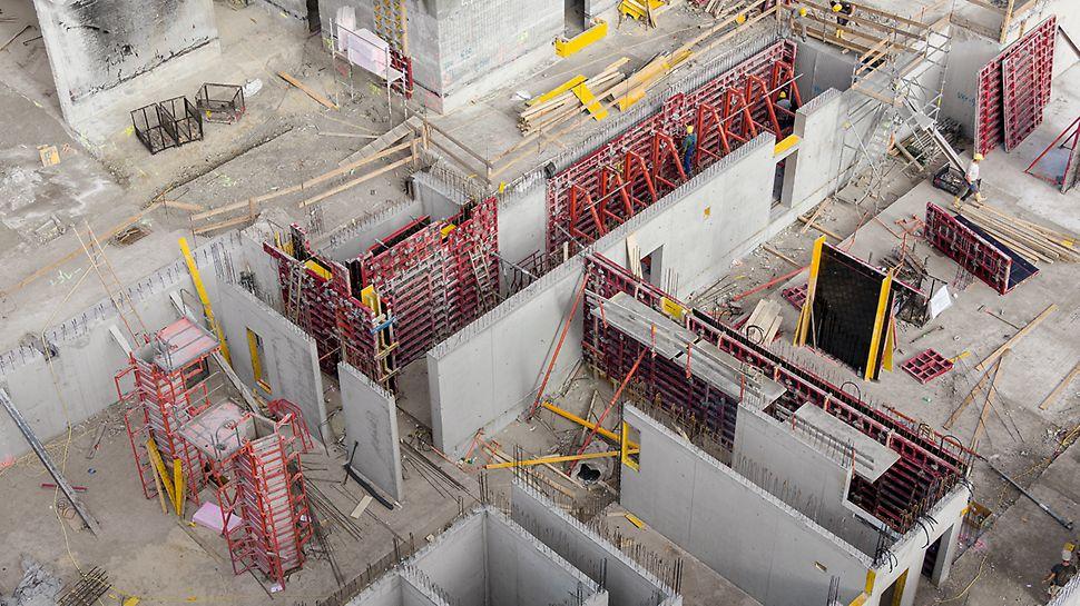 Ein auf die Projektanforderungen perfekt angepasstes Schalungskonzept und der PERI Baustellensupport sorgen auch bei komplizierten Grundrissen für schnelle Schalzeiten.