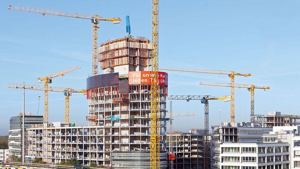 Bau des 76 m hohen Büroturms.