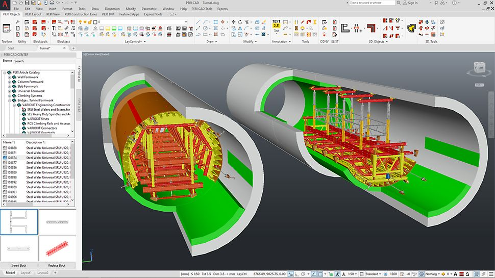 Quickly create detailed planning. The illustration above shows details from a 3D tunnel formwork design.