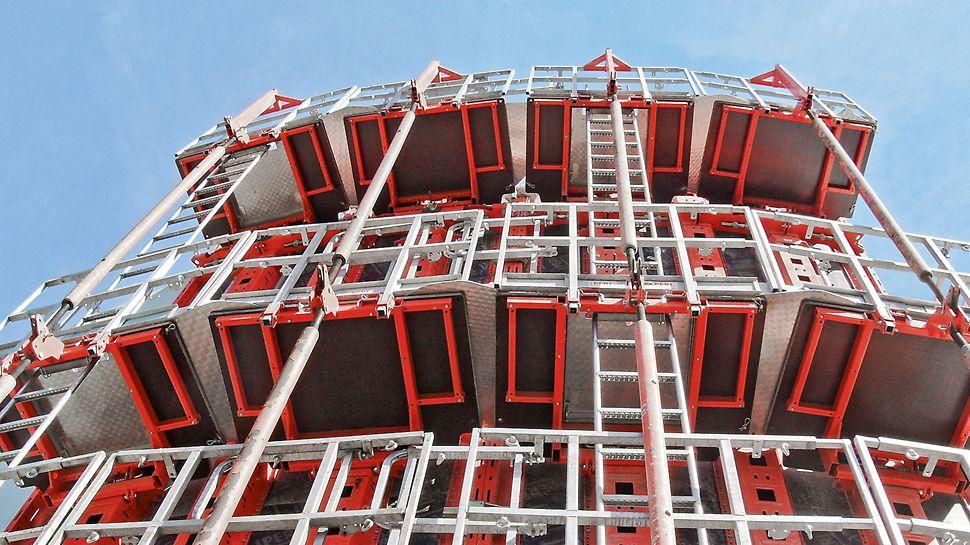 PERI RUNDFLEX Plus kružna oplata - visokokvalitetna površina betona bez otisaka šrafova i nitni.