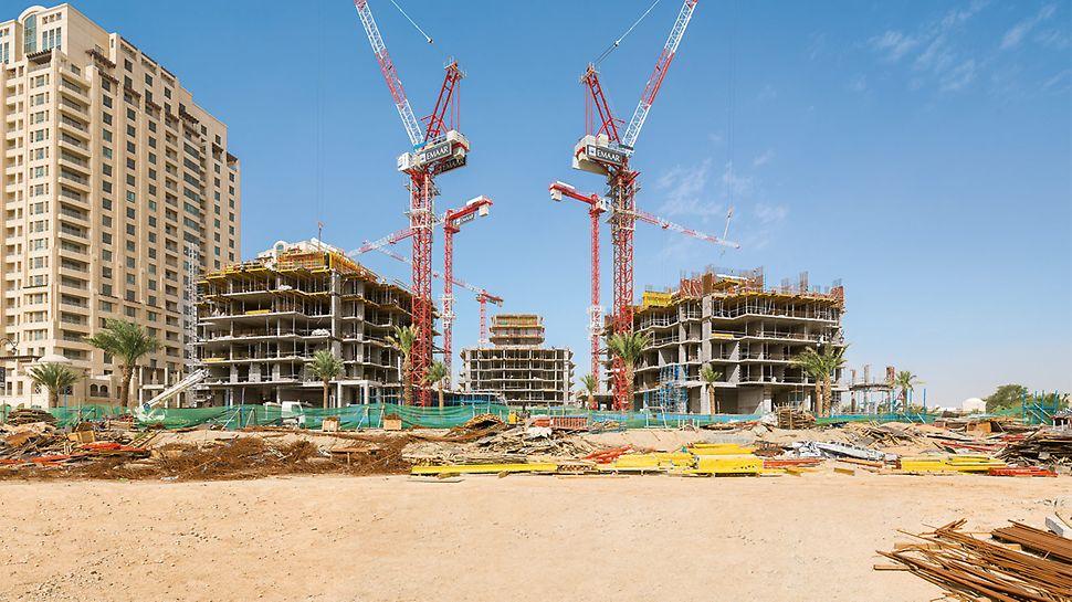 Bau der 17- bis 21-geschossigen Wohntürme mit begrenzter Krankapazität