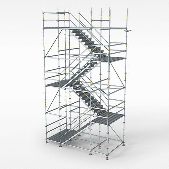 PERI UP Flex Treppe 100 | 125 - Der PERI UP Treppenturm besteht aus leichten Einzelteilen und verfügt über separate Podeste. Die Bautreppe gibt es in den Stufenbreiten 100 cm oder 125 cm und lässt sich als eigenständige Gerüsttreppe nutzen.