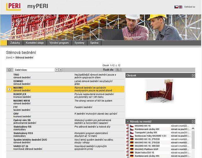 uživatelská plocha myPERI s možnostmi stažení technické dokumentace a obrázky k systémům