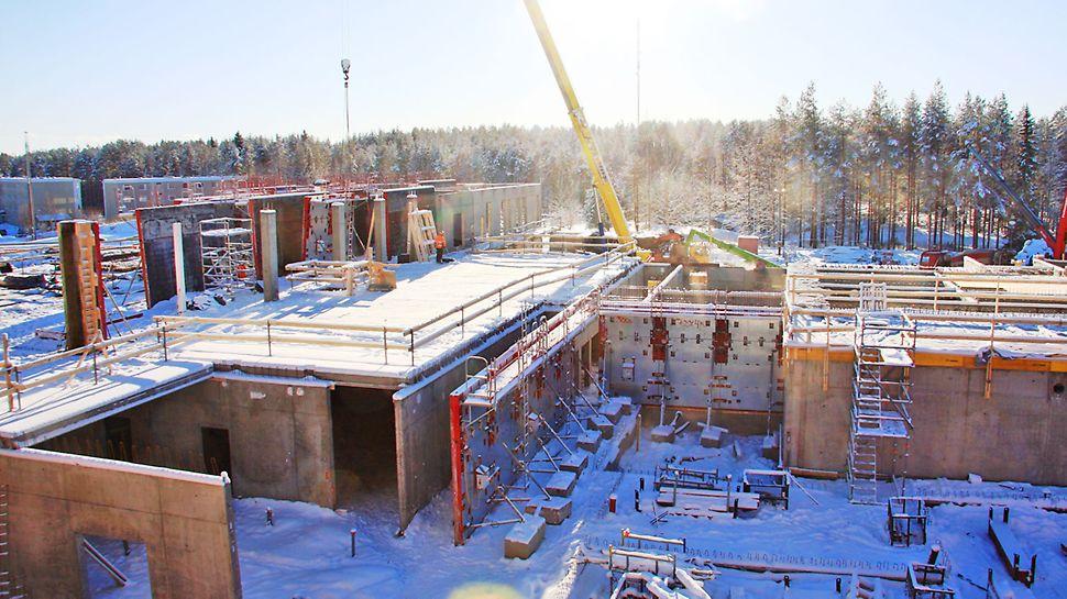 Työmaan rakennusvaihe helmikuussa 2016.