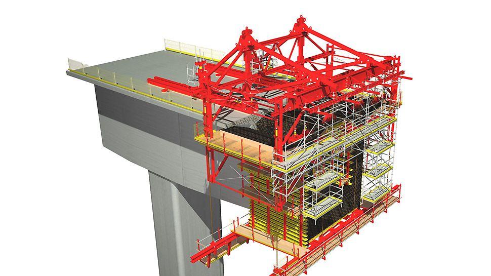 Rozwiązanie PERI przeznaczone do betonowania wspornikowego to kombinacja ramy wysokonośnej, skonstruowanej z lekkich profili stalowych  i standardowych elementów  systemu VARIOKIT.