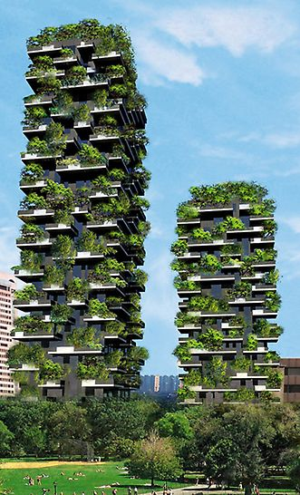 Il Bosco Verticale, Mailand, Italien - Neben einer breiten Palette aus Sträuchern und Blumen beheimaten 900 Bäume die beiden Türme des Bosco Verticale.