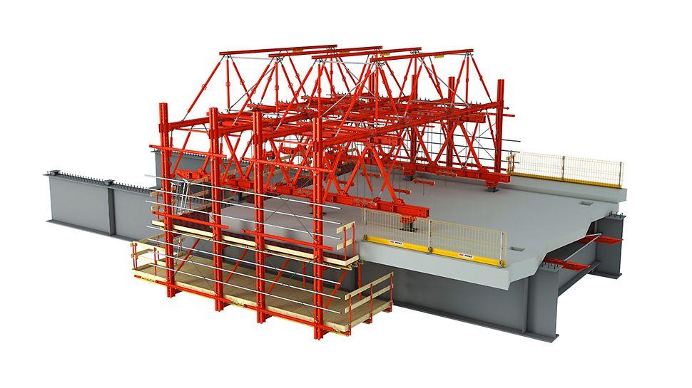 La base du chariot de coffrage se compose d'un treillis regroupant les poutres principales du système HD 200. La longueur est donc réglable de manière modulaire.