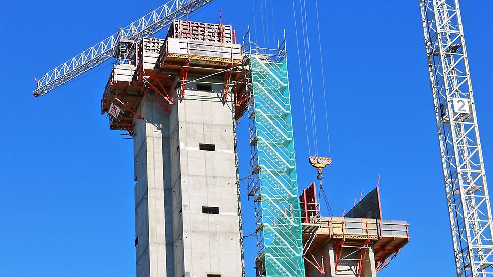 Porras-, hissi- ja nostinkuilut ovat noin 40 m korkeita.