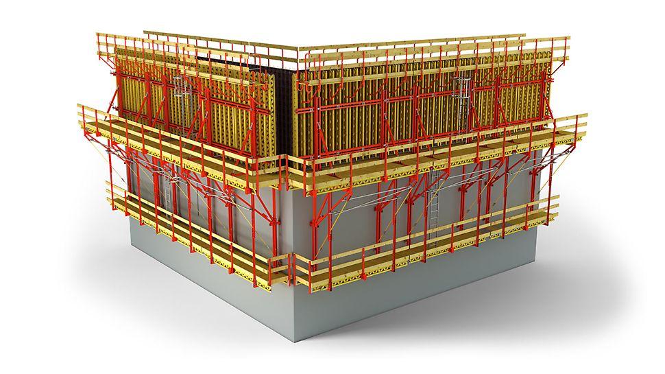 El sistema trepane CB garantiza condiciones de trabajo seguras, para el encofrados de muros, a cualquier altura