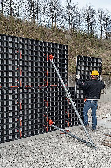 Avec un nombre minimum d'éléments standards différents, le système DUO permet de coffrer efficacement les voiles, les dalles et les poteaux.