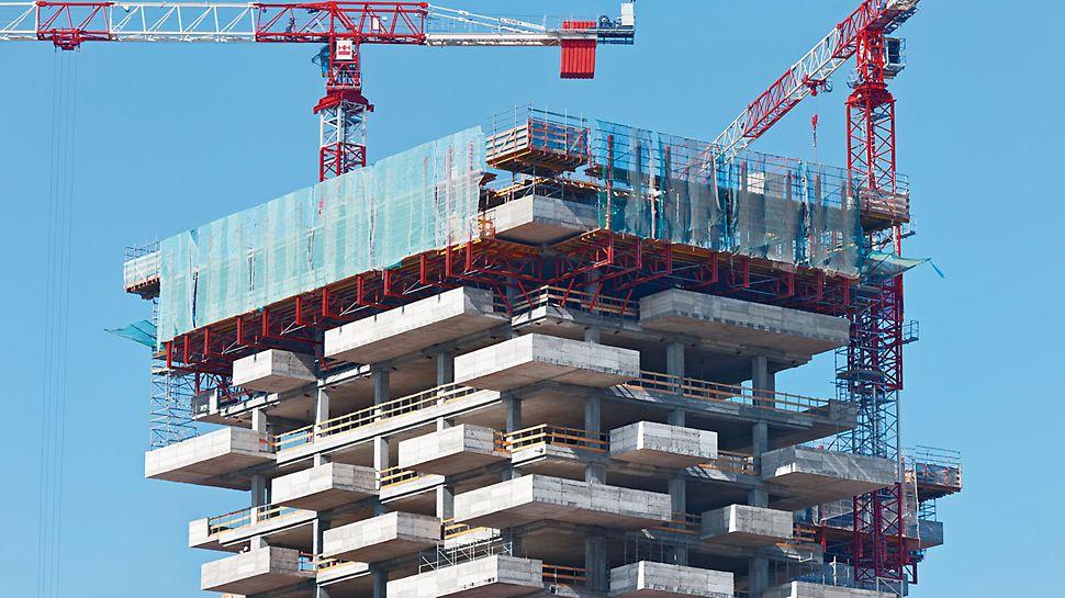 Il Bosco Verticale, Mailand, Italien - Massive, 28 cm starke Stahlbetonbalkone kragen unregelmäßig auf allen vier Gebäudeseiten jeweils 3,35 m aus.