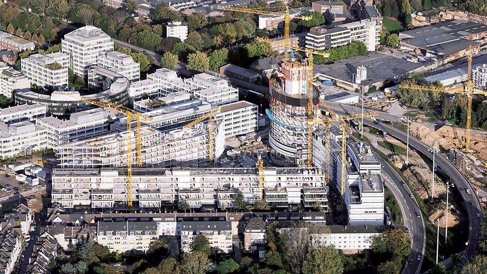 Luftbild vom Düsseldorfer Seestern, wo fünf Bauwerke zeitgleich entstehen.
