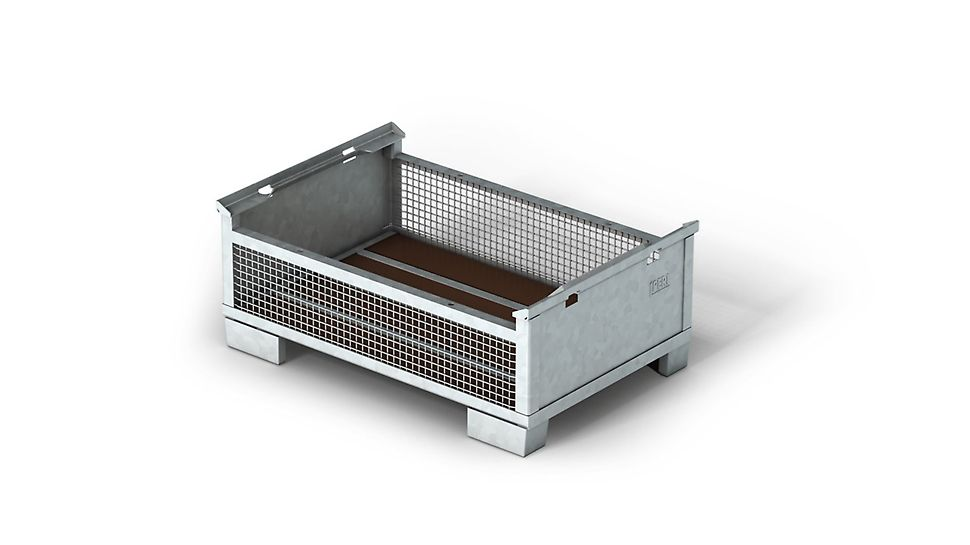 Mesh pallet, for stacking and transportation of components