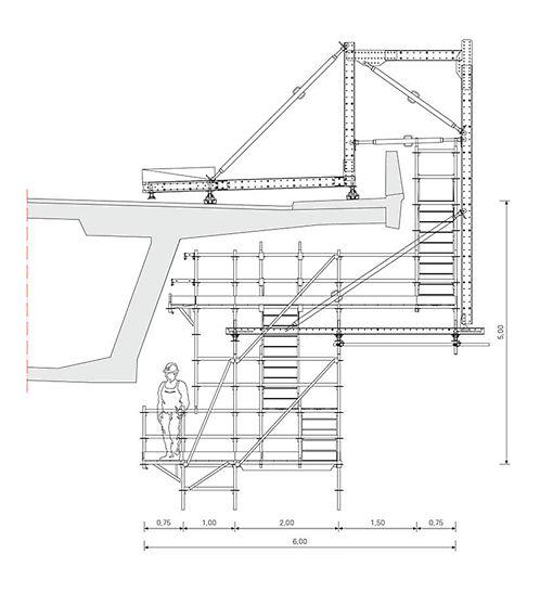 Die PERI Lösung auf Basis der beiden Baukastensysteme VARIOKIT und PERI UP Flex berücksichtigte die veränderliche Überbaugeometrie, entsprechend ließ sich das Hängegerüst stufenlos mittels Spindeln und modular mittels Konsolverbreiterungen anpassen.