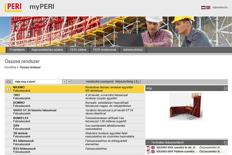 myPERI felhasználói felület műszaki dokumentációk és ábrák letöltésére