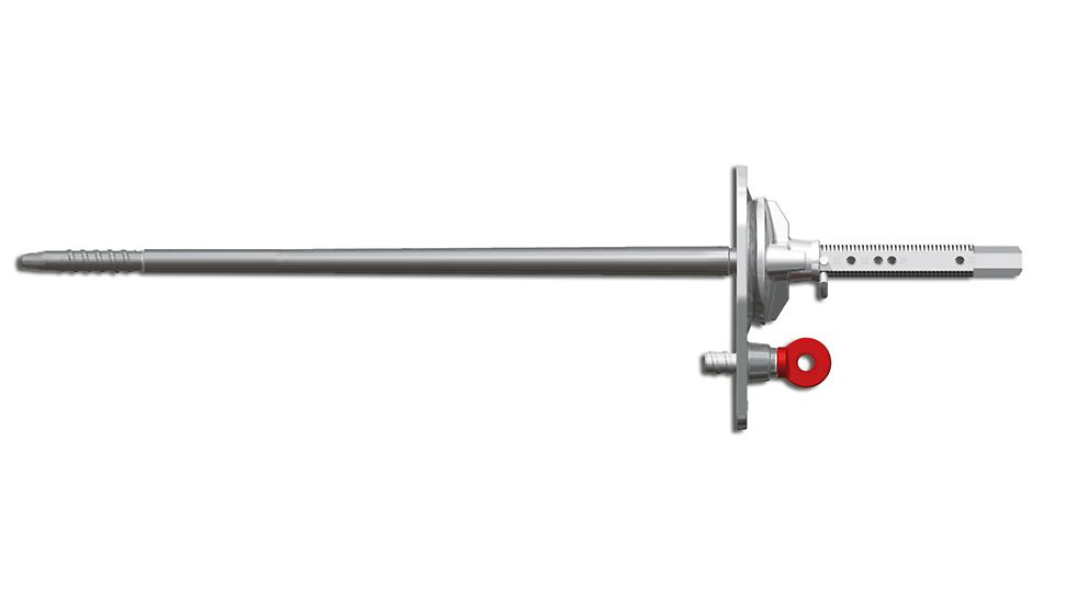 The wall thickness can be easily adjusted on the anchor by means of a cotter pin. The usual wall thicknesses are indicated through markings on the tie rod.