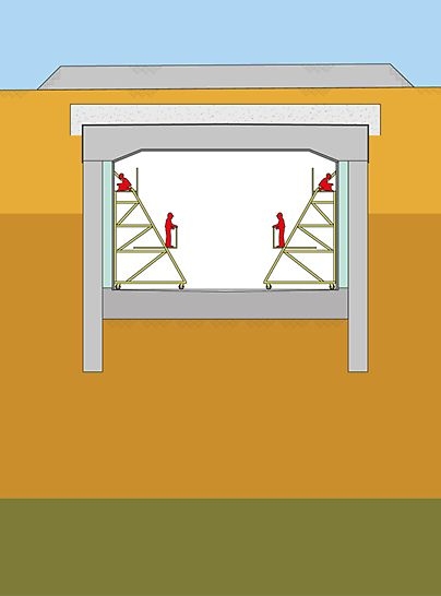 Graphical display of the cut-and cover construction method used during the construction of the Audi tunnel in Ingolstadt.