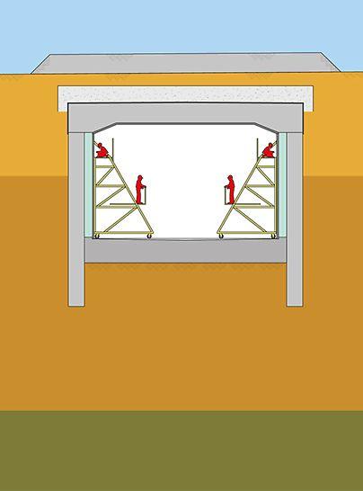 Grafički prikaz top-down metode u tunelogradnji u kontekstu izgradnje tunela Audi u Ingolstadtu.