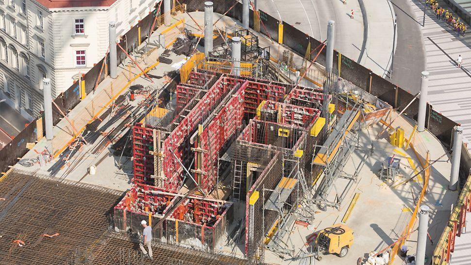 Rohbau des Zentralgebäudes der ÖBB mit der MAXIMO Rahmenschalung aus der Vogelperspektive.
