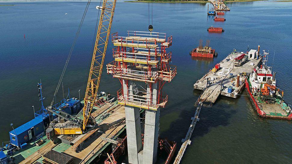 Fjordforbindelsen: SCS klatring med hoved-, finish- og to arbejdsplatforme