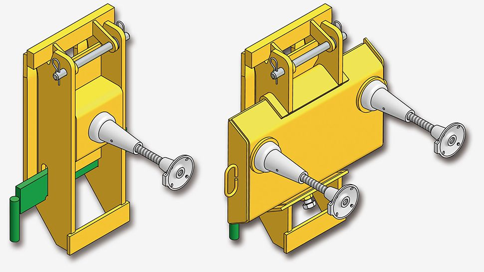 Висока несуча здатність анкерів PERI дозволяє виконувати підйом платформ через невеликий проміжок часу після бетонування. Оптимальний тип підйомного черевика і анкера визначаються індивідуально для кожного проекту.