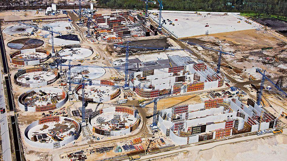 Veliko postrojenje za pročišćavanje otpadnih voda Czajka, Varšava, Poljska - u samo dvije godine gradnje na površini 80 nogometnih igrališta realiziralo se ukupno 120 pojedinačnih objekata.