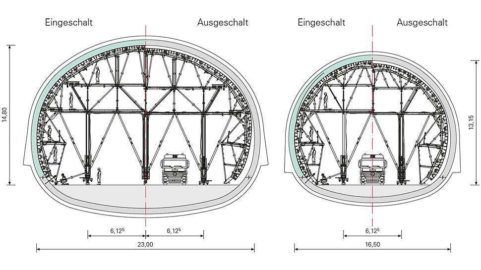 U-Bahn-Erweiterung Algierj - PERI Ingenieure konzipierten eine Schalwagenkonstruktion auf Basis des VARIOKIT Ingenieurbaukastens. Mittels gleicher Systemteile und Schalungssegmenten lassen sich beide Querschnittsvarianten der U-Bahn-Station wirtschaftlich realisieren.