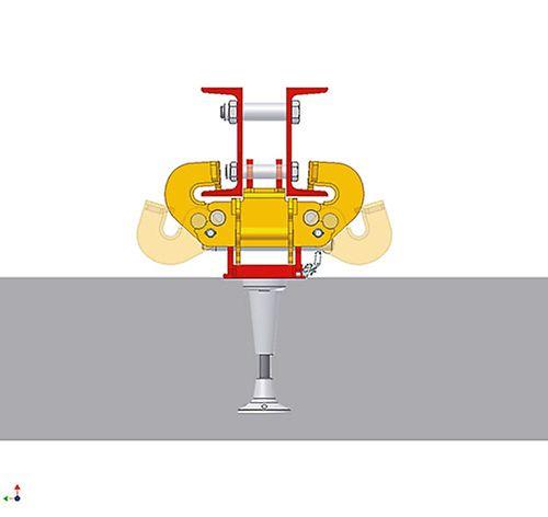 Uchylne szczęki umożliwiają demontaż uchwytu wspinania z boku i ułatwiają pierwsze zawieszenie pomostów.