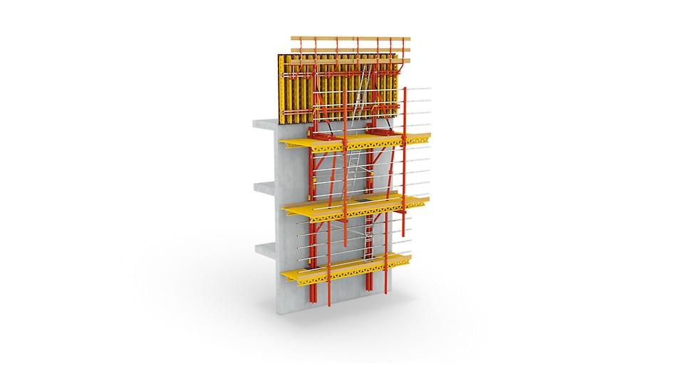 RCS łączy wszystkie zalety systemów wspinania w ramach jednego zestawu modułowego i jest stosowany równocześnie jako pomost roboczy oraz osłona zabezpieczająca.