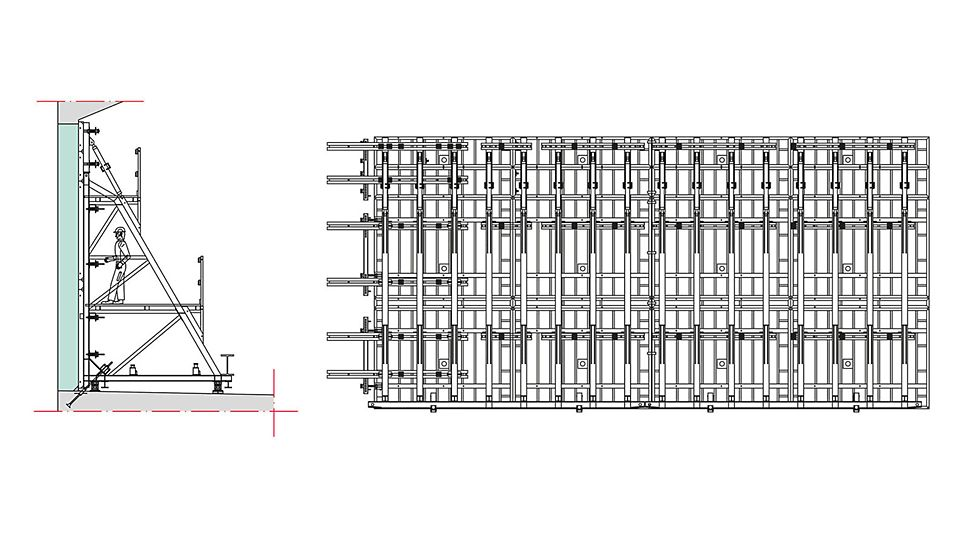 Wandansicht zweier gekoppelter TRIO Rahmenschalungselemente und Stützbockeinheiten mit Riegellagen für einen Betonierabschnitt (rechts) und Schnitt (links).