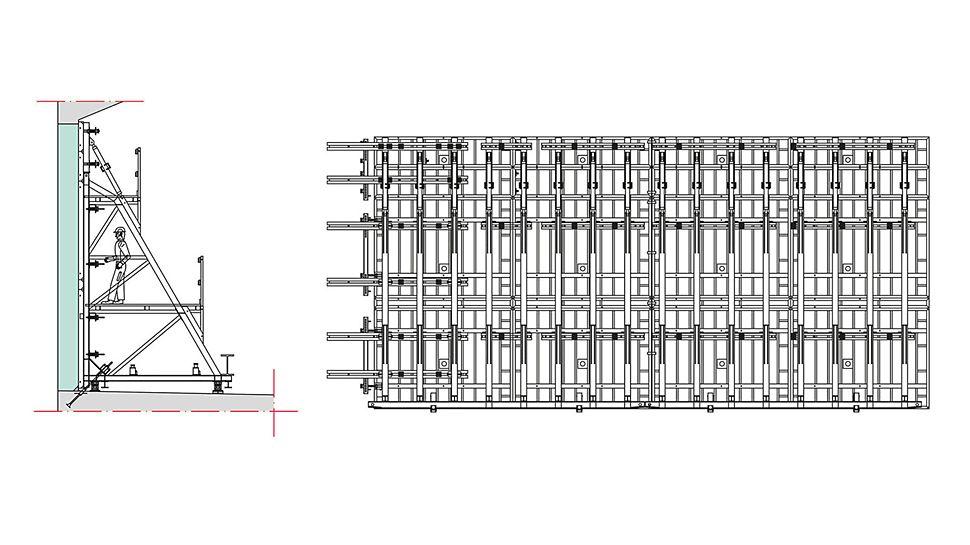 Wandansicht zweier gekoppelter TRIO Rahmenschalungselemente und Stützbockeinheiten mit Riegellagen für einen Betonierabschnitt (links) und Schnitt (rechts).