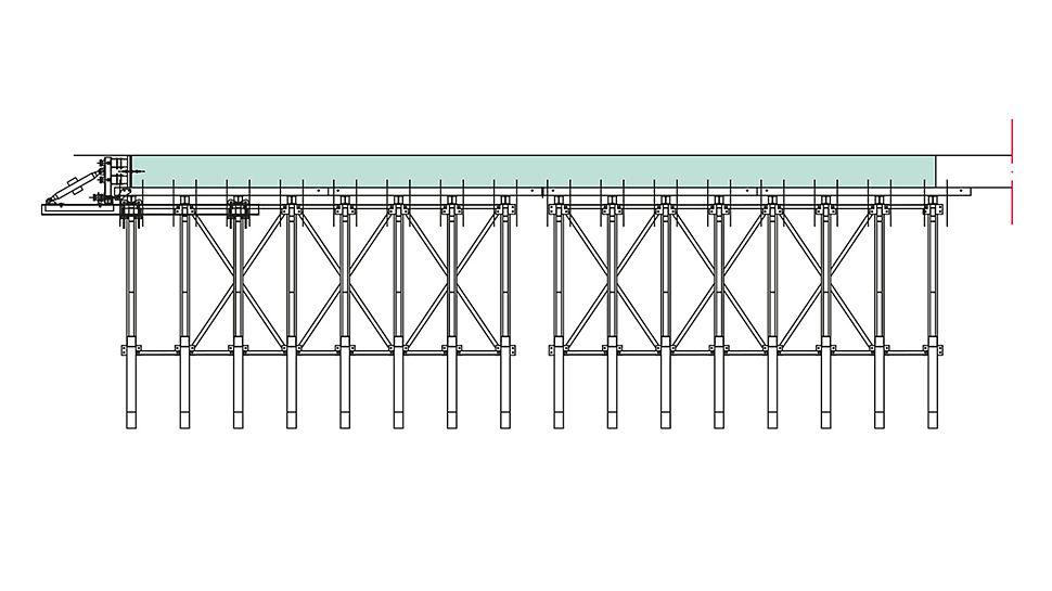 Presjek pozicioniranja okvirnih podupirača jednostrane oplate za jednu dužinu takta betoniranja s čeonom oplatom i sidrenim pozicijama.