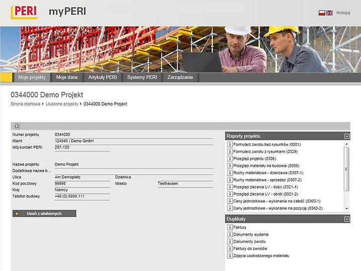 Portal internetowy oferuje klientom obszerne informacje na temat wszystkich systemów PERI, a także umożliwia dostęp do danych projektowych dotyczących budów przez nas obsługiwanych.
