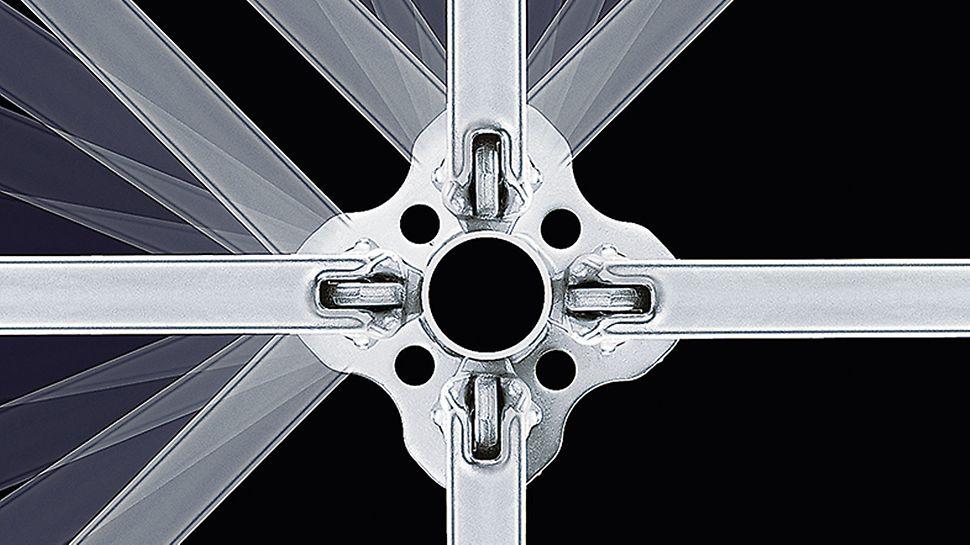 La roseta en la vertical permite colocar los largueros en ángulos de hasta 45°. Las rosetas cada 50 cm ofrecen puntos de conexión en todas las direcciones.