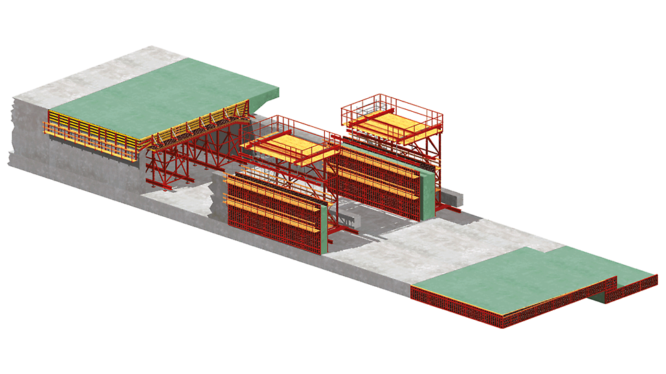 Encofrado para túneles VARIOKIT: Gráfico de túnel ejecutado según el método cut and cover