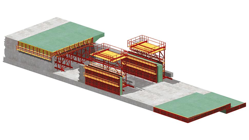 VARIOKIT - Systém pro výstavbu tunelů: Schéma hloubeného tunelu s oddělenou výstavbou sekcí.