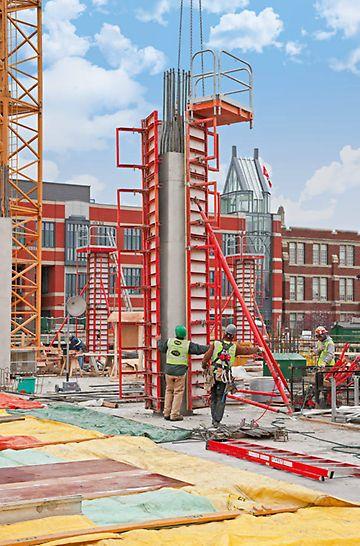 4.50 m-ig, 25 cm-es raszterben magasítható a 4 különböző magasságú (0.50 m / 1.25 m / 2.75 m / 3.50 m) elem segítségével.