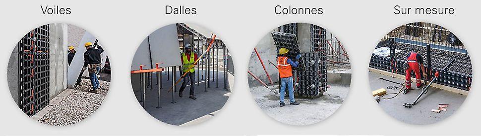 Le coffrage multifonctionnel de Peri DUO peut être utilisé partout. Pour les murs, les colonnes, les sols, etc.