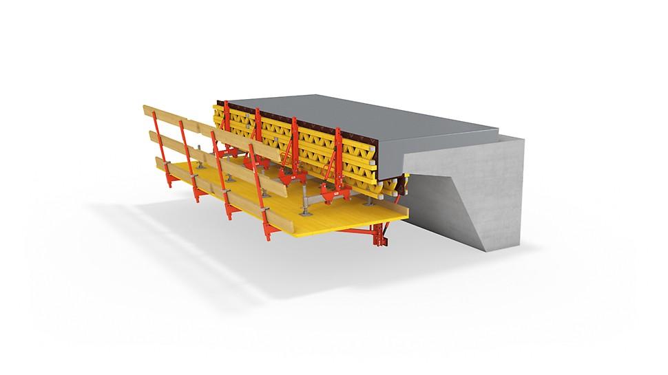 Könnyű hídszegély konzol felújítási munkákhoz, valamint új építésű, rövidebb hidakhoz