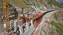 Galerija Marchlehner, Sölden, Austrija - VARIOKIT rješenje tunelske oplate ubrzalo je gradnju galerije Marchlehner na 1.800 m nadmorske visine i dužine 228 m. Kompetentno projektiranje kojim su obuhvaćeni svi zahtjevi projekta omogućilo je pravodobnu realizaciju prije početka zime.