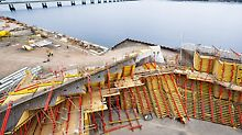 Formwork facing the river Tay.