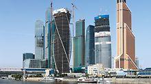 """Evolution Tower: Evolution Tower je částí moskevského mezinárodního obchodního centra """"Moscow City"""" – realizovaná s pomocí PERI.."""