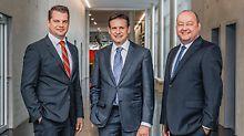Il gruppo dirigente di PERI GmbH: il dott. Fabian Kracht (direttore Finanze e Organizzazione), Alexander Schwörer (direttore Marketing e Vendite) e Leonhard Braig (direttore Prodotti e Tecnologie)